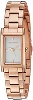 Karen Millen Women's Quartz Watch with White Dial Analogue Display and Rose Gold Leather Strap KM114RGM