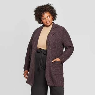 A New Day Women's Plus Size Long Sleeve Open Layering Textured Coatigan Light Gray Heather