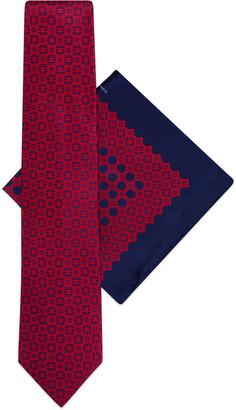 Stefano Ricci Men's Tonal Printed Silk Tie/Pocket Square Set
