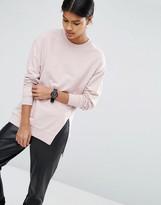 Asos Longline Sweatshirt With Front Split