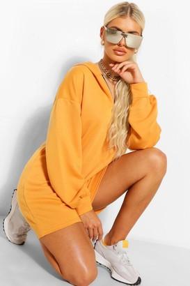 boohoo Zip Hooded Oversized Sweatshirt Dress