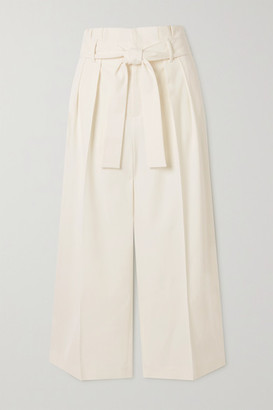 RED Valentino Cropped Belted Twill Wide-leg Pants - Ivory