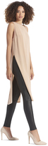 Alice + Olivia Rose Tan Patsy Long Side Slit Tunic Tank