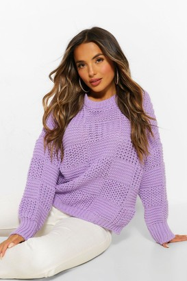 boohoo Petite Oversize Heavy Weight Check Detail Sweater