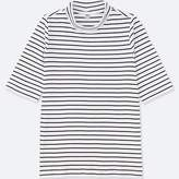 Uniqlo Women's Striped Ribbed High Neck Half-sleeve T-Shirt