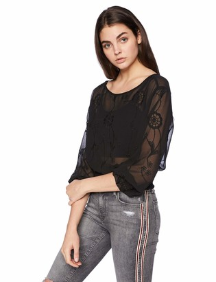 Angie Women's Sheer Shirt with Floral Embroidery and Open Back