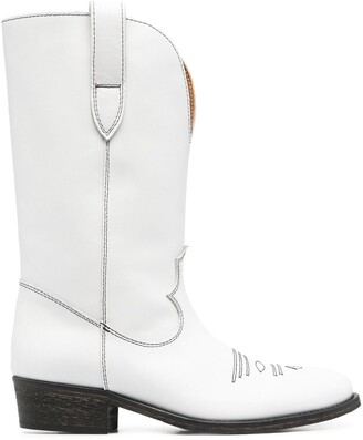 Via Roma 15 Stitch-Embellished Western Boots