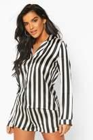 boohoo Amy Satin Stripe Print Long Sleeve And Short PJ Set