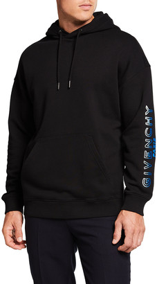 Givenchy Men's Embroidered-Typographic Pullover Hoodie