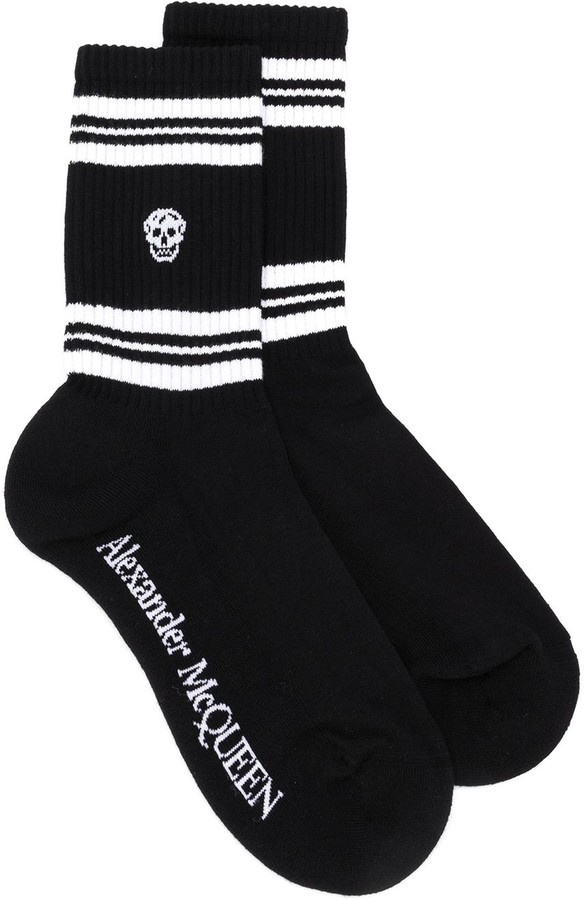 Alexander McQueen Stripes And Skull Socks