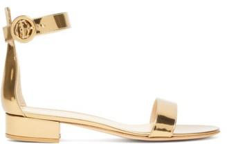 Gianvito Rossi Portofino 20 Block-heel Metallic-leather Sandals - Gold