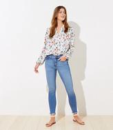 LOFT Curvy Chewed Hem Slim Pocket High Waist Skinny Crop Jeans in Light Wash