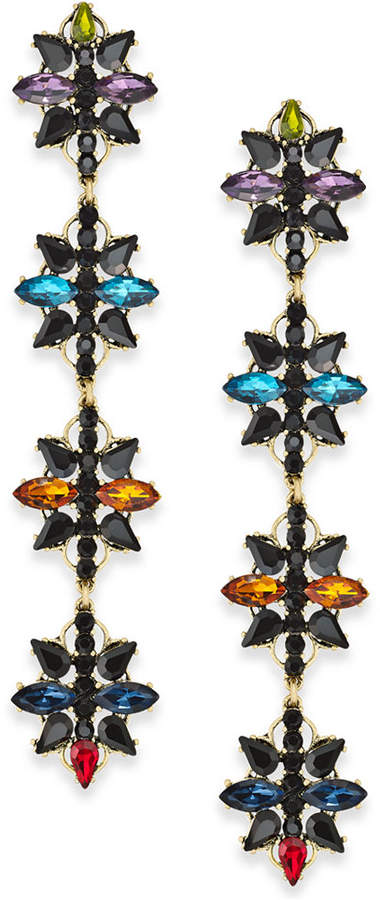 INC International Concepts Anna Sui x Gold-Tone Crystal Flower Linear Drop Earrings, Created for Macy's