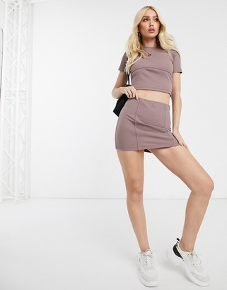 Asos Design DESIGN ribbed mini skirt with tie waist two-piece
