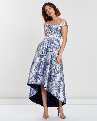 Bariano Honey High-Low Jacquard Gown
