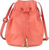 Halston Drawstring Leather Bucket Bag, Melon