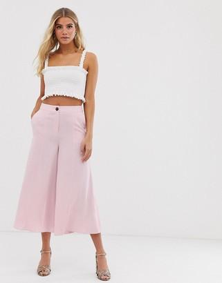 Miss Selfridge wide crop culottes in pink
