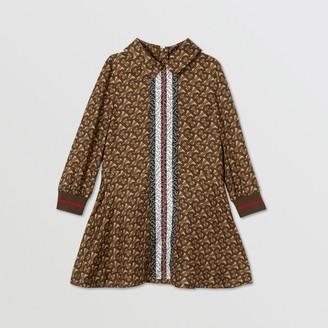 Burberry Childrens Long-sleeve Monogram Stripe Print Silk Dress