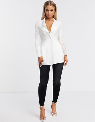 ASOS DESIGN jersey suit blazer with lace sleeves
