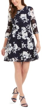 Jessica Howard Floral-Print Lace Fit & Flare Dress