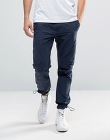 Asos Straight Leg Cargo In Washed Navy