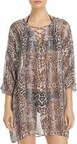 Tommy Bahama Snakeskin Print Lace Front Tunic Swim Cover-Up