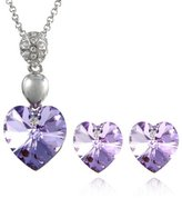 Dahlia Crystal Heart Swarovski Elements Heart Crystal Rhodium Plated Pendant Necklace Earrings Set