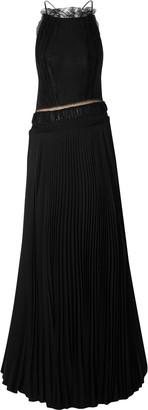 Jason Wu Lace-trimmed Open-back Pleated Silk-georgette Gown