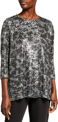Caroline Rose Plus Size Sequin 3/4-Sleeve Tunic