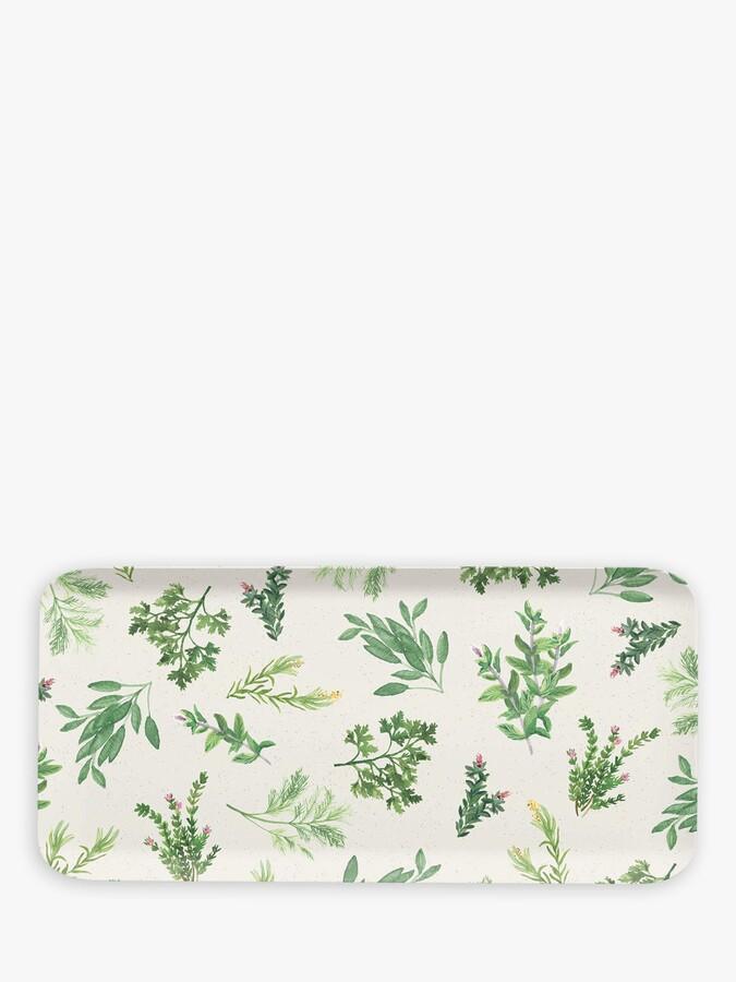 Epicurean Herb Melamine Picnic Rectangular Serving Platter, 38cm, Green