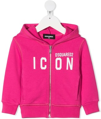 DSQUARED2 Icon print zip-up hoodie