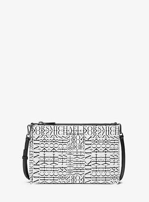 Michael Kors Adele Newsprint Logo Leather Crossbody Bag