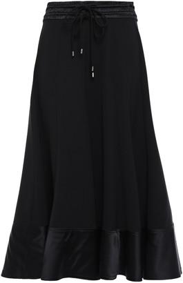 Prabal Gurung Flared Satin-trimmed Silk-crepe Midi Skirt