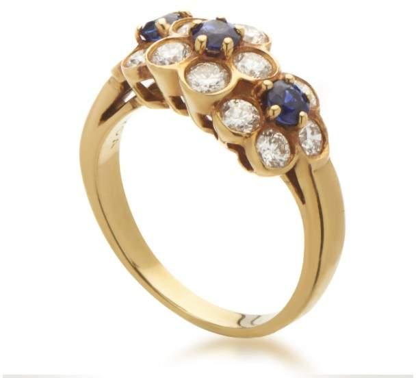 Van Cleef & Arpels 18K Yellow Gold Diamond Sapphire Flowers Ring Size 5.25