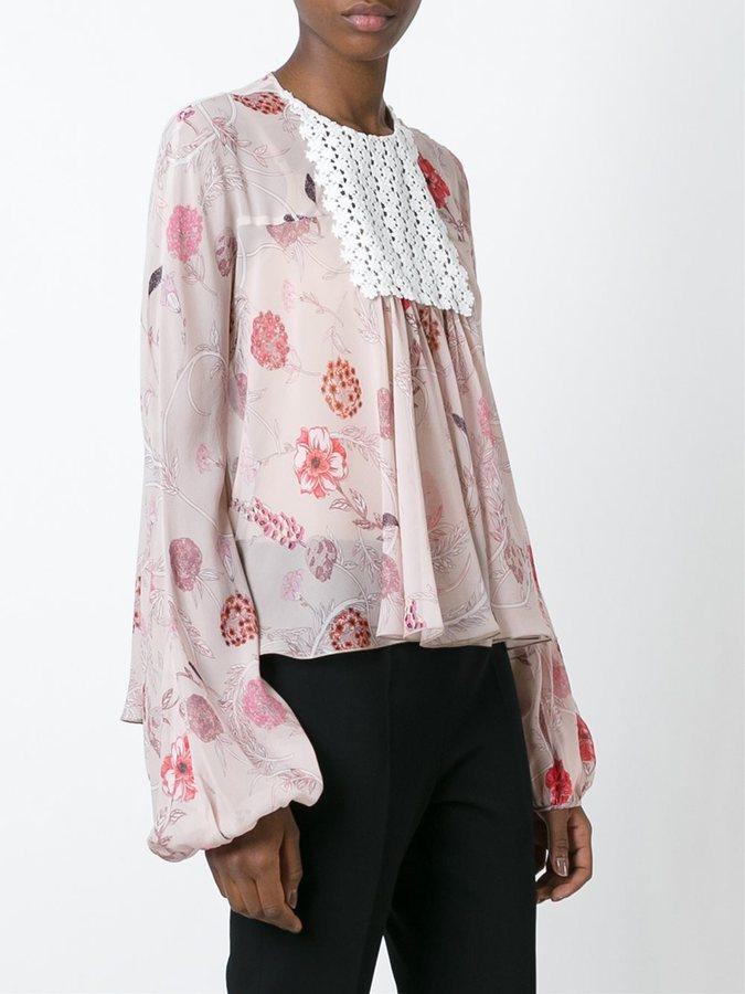 Giambattista Valli floral print chest panel blouse