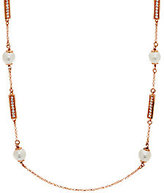 """Honora Cultured Pearl 8.5mm 24"""" Bronze Station Necklace"""