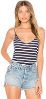 Monrow Stripe Indigo Linen Tank in Navy. - size L (also in M,S)