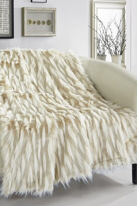"Chic Home Bedding Levida Two-Tone Faux Fur Blanket - 50"" x 60"" - Beige"