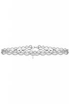 Quiz Silver Diamante Scallop Choker
