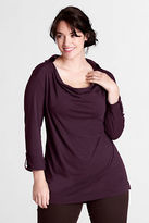 Lands' End Women's Plus Size Elbow Sleeve Drapey Collared Drop Neck Tunic