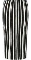 Dorothy Perkins Womens Monochrome Stripe Plise Tube Skirt- Black And White