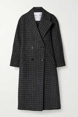 Proenza Schouler White Label Double-breasted Checked Wool And Cotton-blend Coat - Charcoal