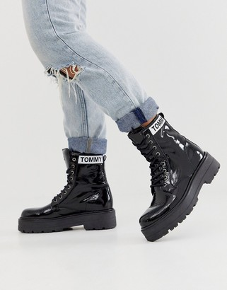 Tommy Jeans patent leather lace up boot