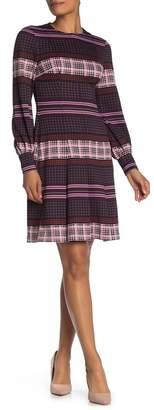 Donna Morgan Fit & Flare Long Sleeve Scuba Dress