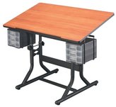 Alvin CraftMaster Deluxe Drafting Table Cherry Woodgrain Top/Black Base