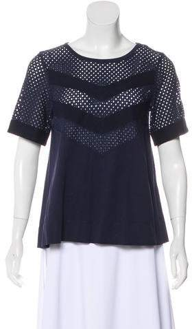 See by Chloe Eyelet-Accented Short Sleeve Top