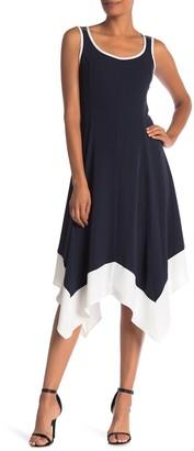 Jones New York Sleeveless Handkerchief Hem Trimmed Dress