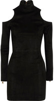 Balmain Cutout Suede Mini Dress - Black