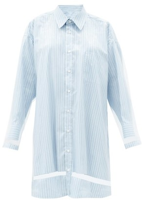 Maison Margiela Organza-overlay Striped Shirt Dress - Blue Stripe