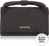 Love Moschino Bow Handle Clutch Bag With Shoulder Strap- Black